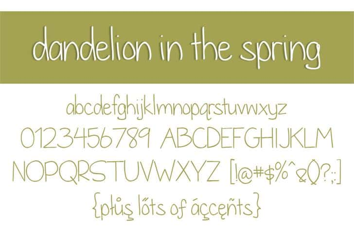 Dandelion in the spring шрифт скачать бесплатно
