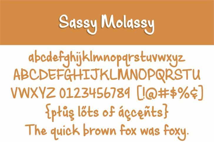 Sassy Molassy шрифт скачать бесплатно