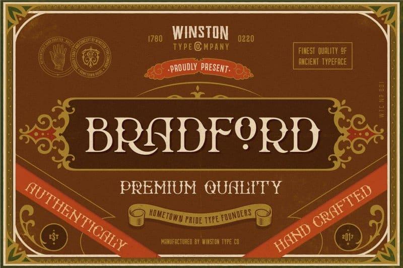 Bradford Regular шрифт скачать бесплатно