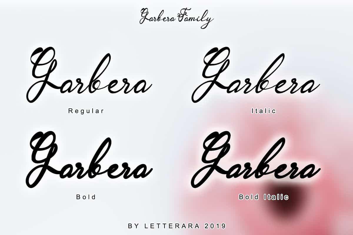 Garbera Flower шрифт скачать бесплатно